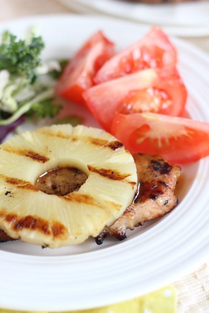 grilled teriyaki pineapple pork chops 9