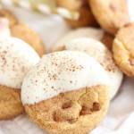 White Chocolate-Dipped Brown Butter Snickerdoodles with Cinnamon Chips