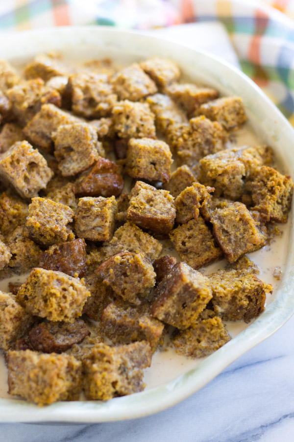 Pumpkin Banana Bread Bread Pudding with Caramelized Bananas (4)