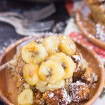 Pumpkin Banana Bread Bread Pudding with Caramelized Bananas