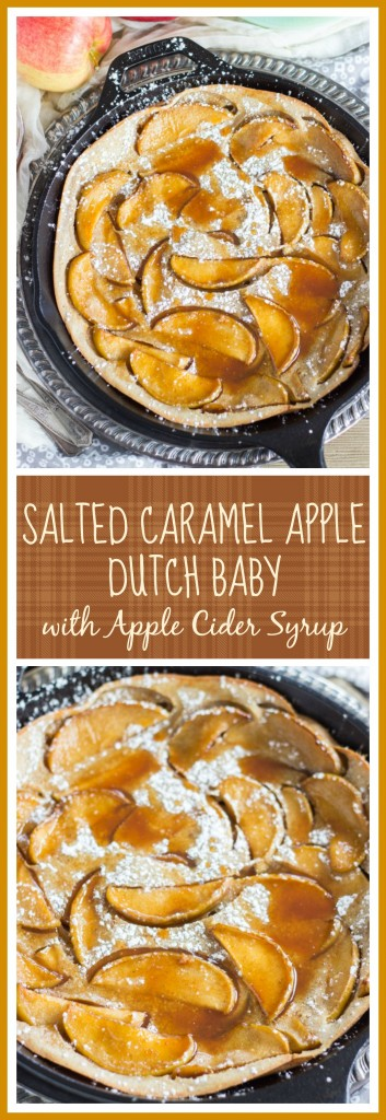 Salted Caramel Apple Dutch Baby with Apple Cider Syrup pin