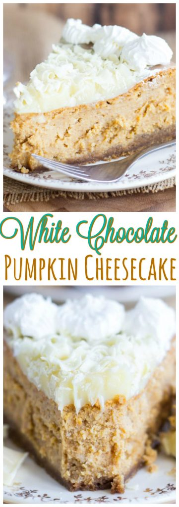 White Chocolate Pumpkin Cheesecake with Gingersnap Crust pin 2