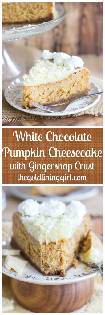 White Chocolate Pumpkin Cheesecake with Gingersnap Crust pin