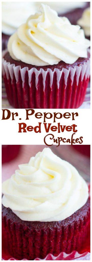 Dr. Pepper Red Velvet Cupcakes pin 1