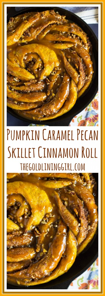Giant Pumpkin Caramel Pecan Skillet Cinnamon Roll pin