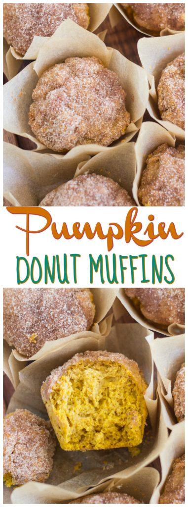 Pumpkin Donut Muffins recipe image thegoldlininggirl.com pin 1