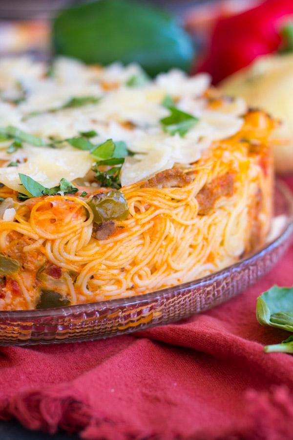 Sausage Pepper Mushroom Spaghetti Pie (1)