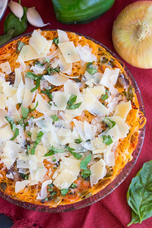 Sausage Pepper Mushroom Spaghetti Pie