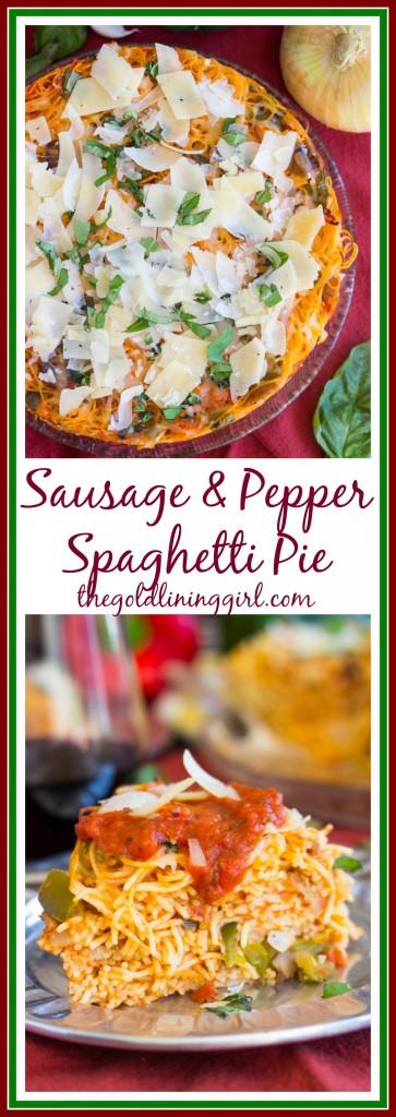 Sausage Pepper Mushroom Spaghetti Pie pin