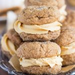 Soft Molasses Ginger Cookie Sandwiches with Cookie Butter Buttercream