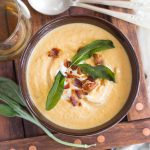 Sweet Potato White Bean Soup with Bacon and Crispy Sage