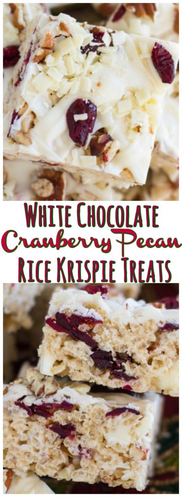 White Chocolate Cranberry Pecan Rice Krispie Treats recipe image thegoldlininggirl.com pin 1