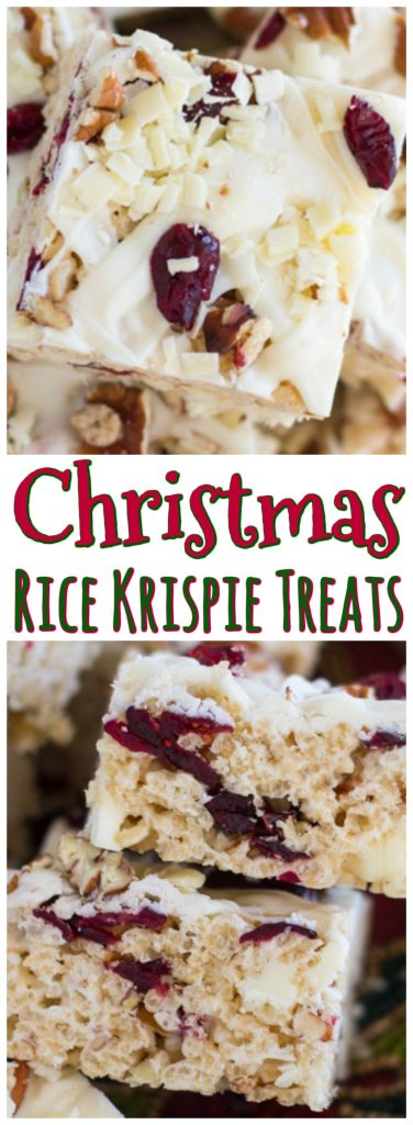 White Chocolate Cranberry Pecan Rice Krispie Treats recipe image thegoldlininggirl.com pin 2