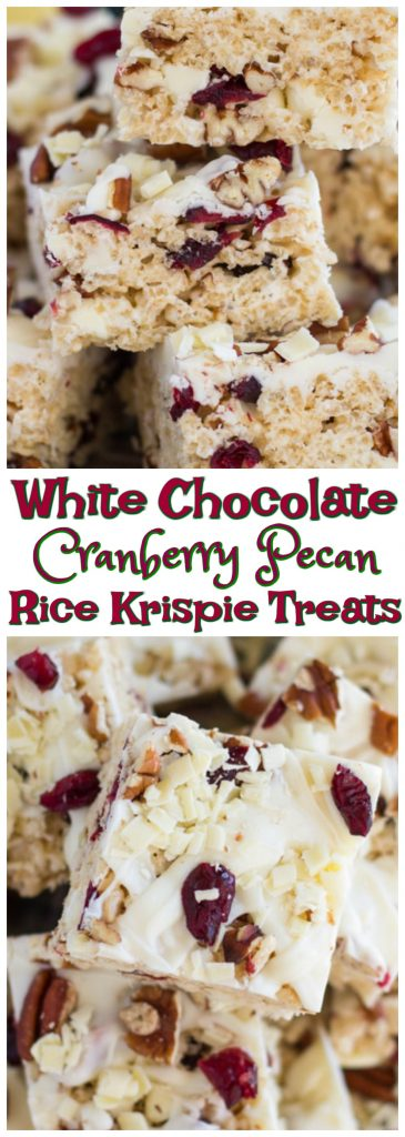 White Chocolate Cranberry Pecan Rice Krispie Treats recipe image thegoldlininggirl.com pin 3