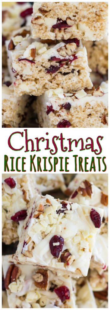 White Chocolate Cranberry Pecan Rice Krispie Treats recipe image thegoldlininggirl.com pin 4