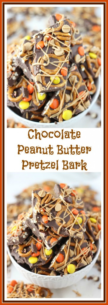chocolate peanut butter pretzel bark pin