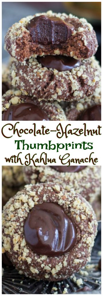 Chocolate-Hazelnut Thumbprints with Kahlua Ganache pin 1