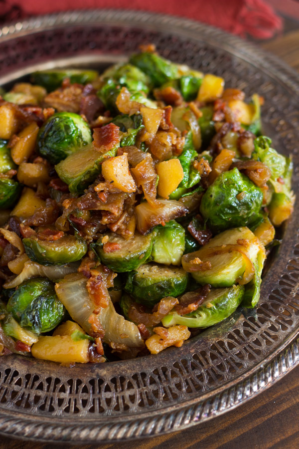 How do you fry brussel sprouts with bacon