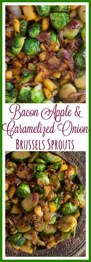 Bacon Apple & Caramelized Onion Brussels Sprouts pin 2