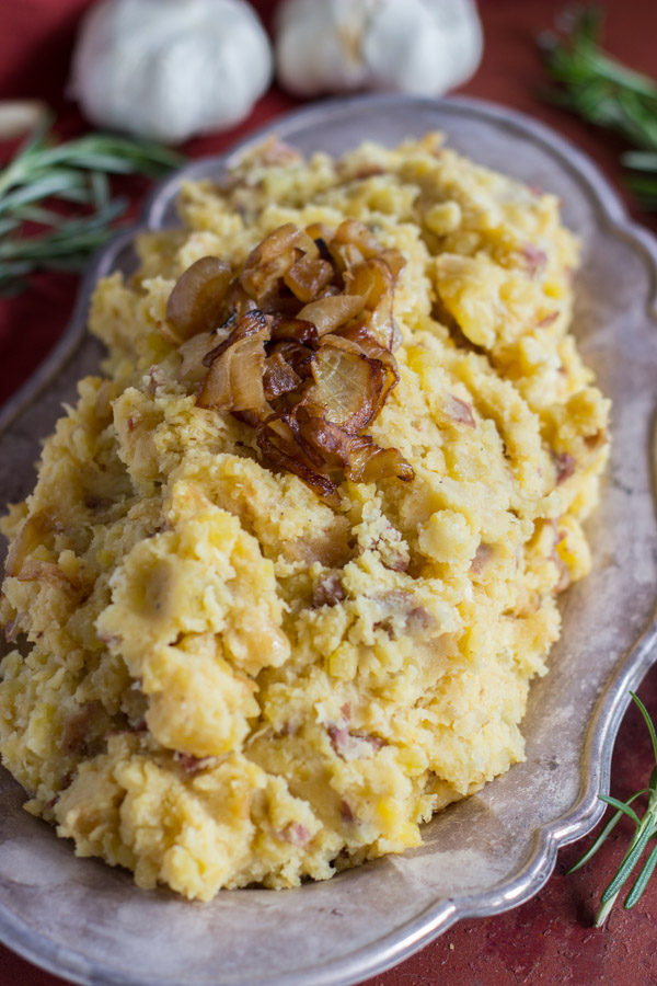 Caramelized Onion Garlic & Goat Cheese Mashed Potatoes