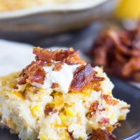 Cheesy Grits Casserole with Bacon and Corn