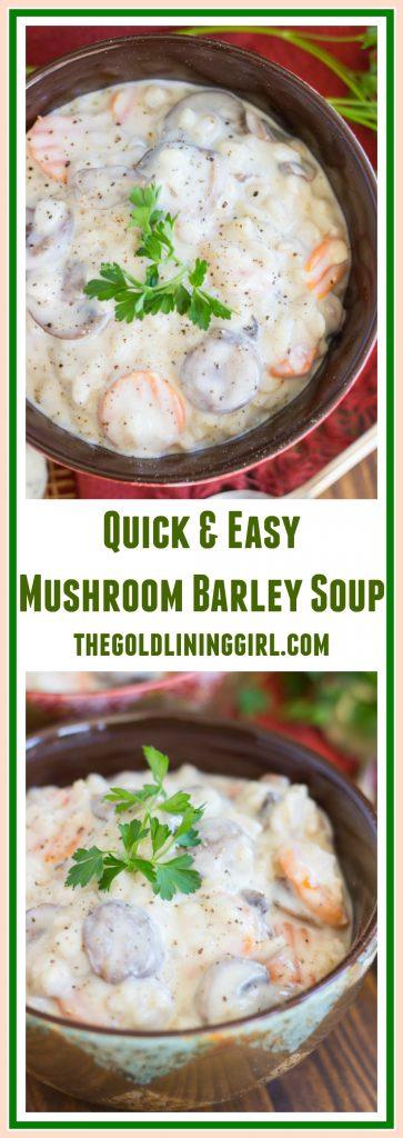 Quick & Easy Mushroom Barley Soup pin