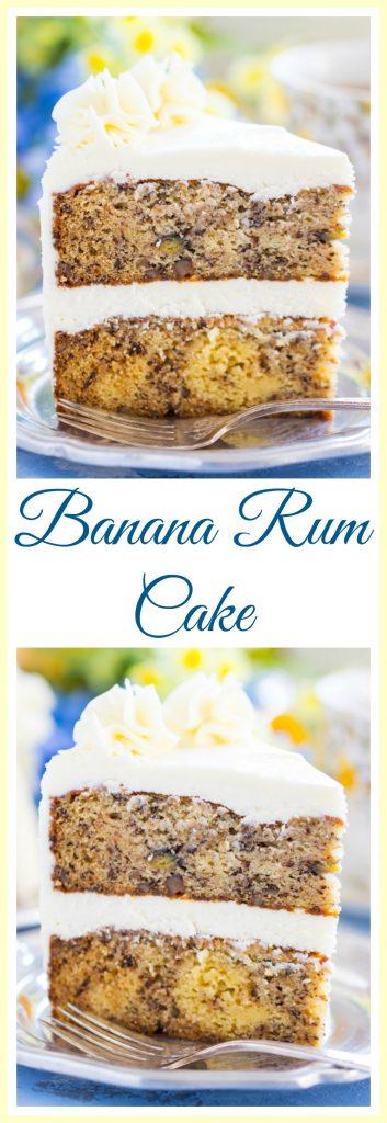 Banana Rum Cake image thegoldlininggirl.com pin