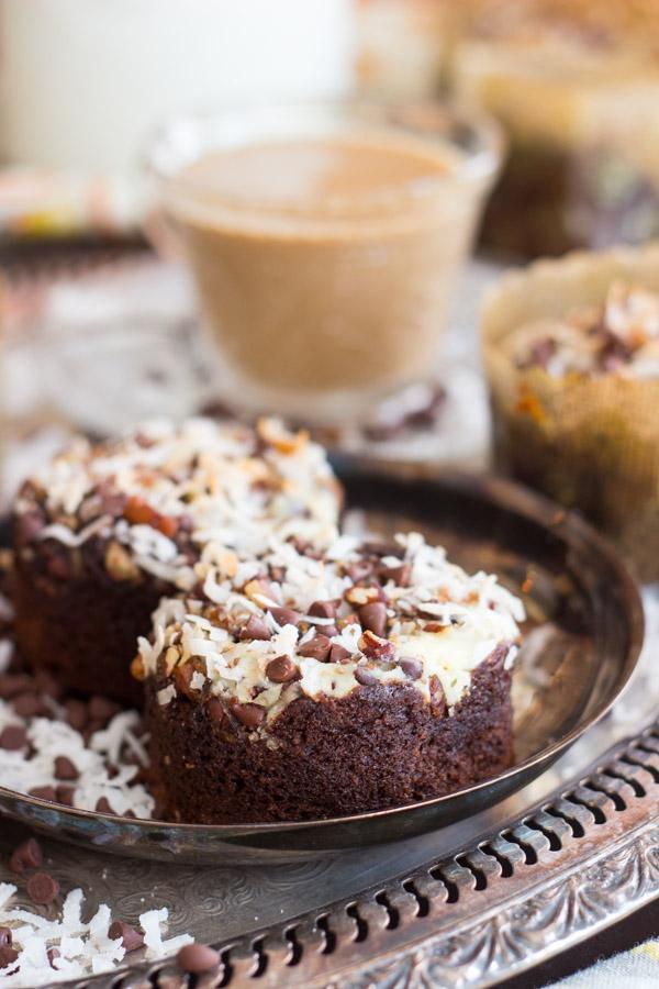 Coconut Pecan Chocolate Cheesecake Muffins image thegoldlininggirl.com (5)