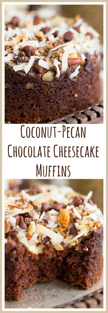 Coconut Pecan Chocolate Cheesecake Muffins image thegoldlininggirl.com pin 2