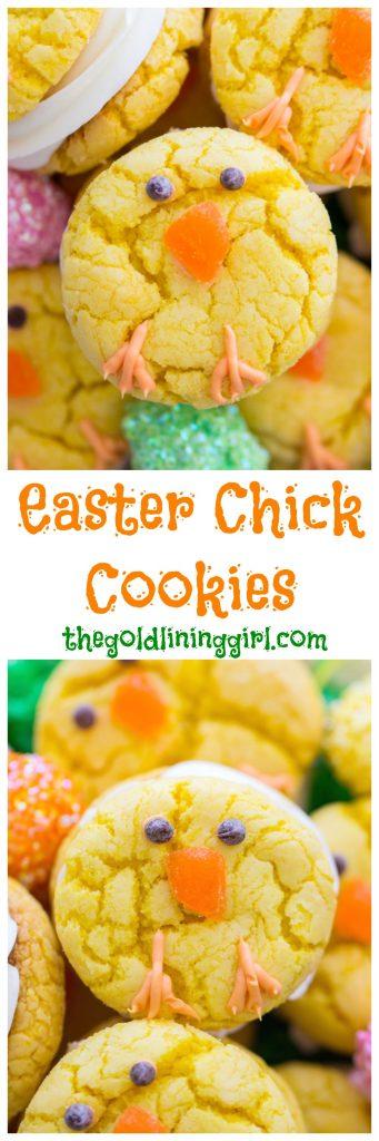 Easter Chick Cookies image thegoldlininggirl.com pin