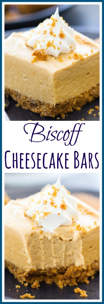Biscoff Cheesecake Bars image thegoldlininggirl.com pin