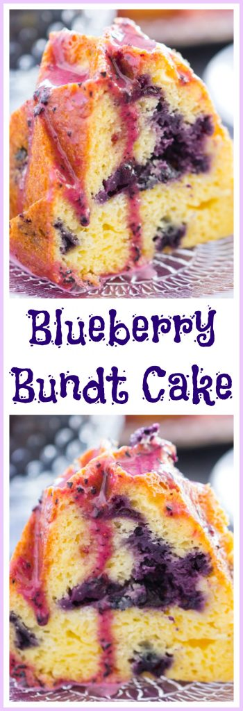 Blueberry Bundt Cake with Blueberry Glaze image thegoldlininggirl pin 2