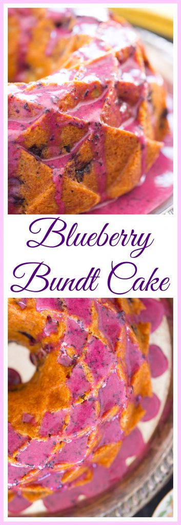 Blueberry Bundt Cake with Blueberry Glaze image thegoldlininggirl pin