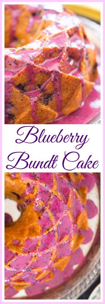 Blueberry Bundt Cake with Blueberry Glaze image thegoldlininggirl pin