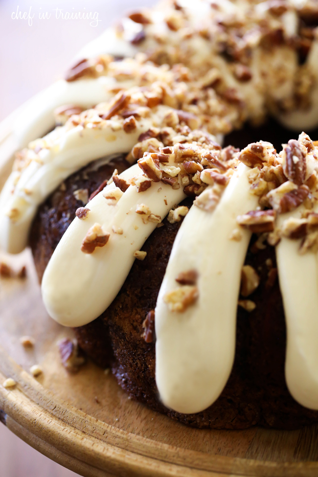 Carrot Walnut Bundt Cake With Lemon Cream Cheese Icing