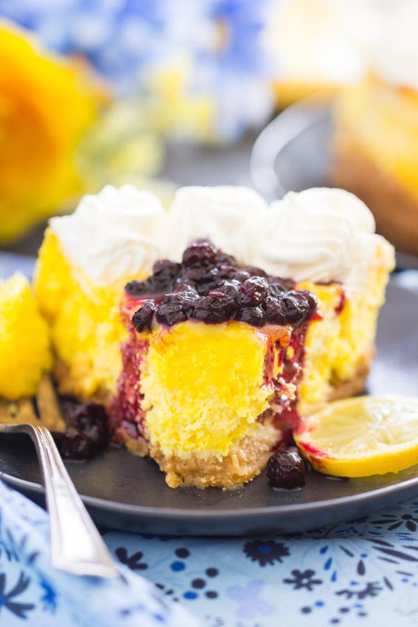 Lemon Blueberry Cheesecake recipe thegoldlininggirl.com25