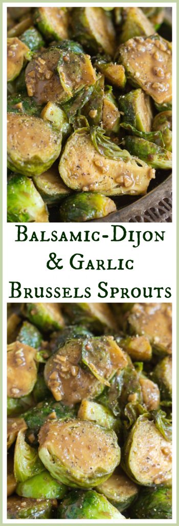 Mustard Balsamic Brussels Sprouts image thegoldlininggirl.com pin