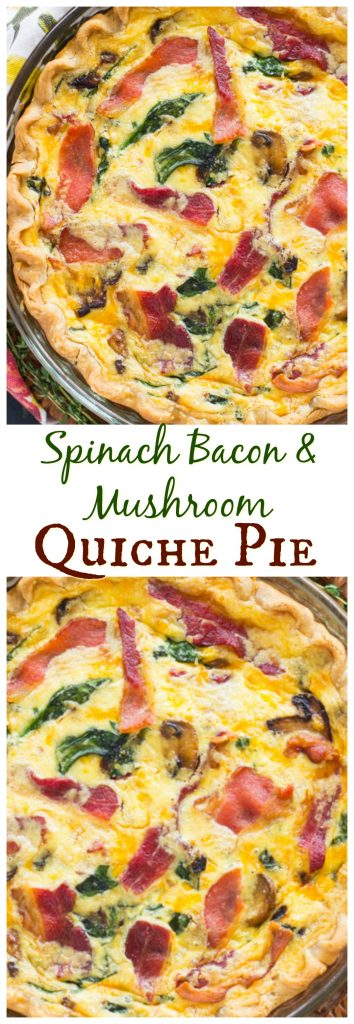 Spinach, Bacon, & Mushroom Quiche Pie recipe! A *must* for weekend brunch!