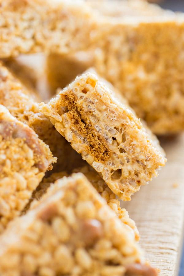 Cookie Butter Rice Krispie Treats image thegoldlininggirl.com 5