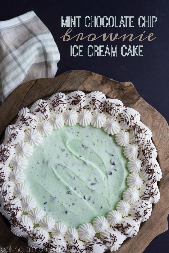 Mint chocolate chip brownie ice cream cake
