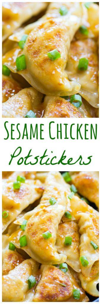 Sesame Chicken Potstickers recipe pin