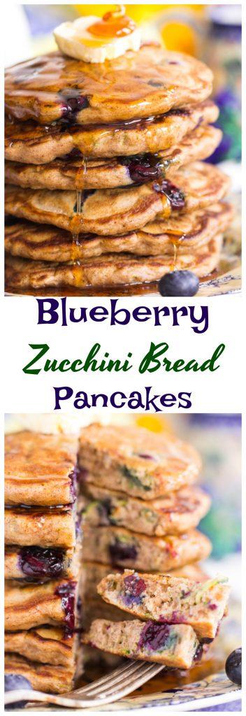 Blueberry Zucchini Bread Pancakes pin thegoldlininggirl.com