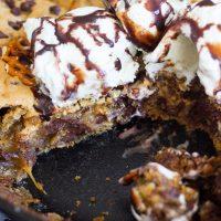 Caramel Pretzel Peanut Butter Chocolate Chip Skillet Cookie