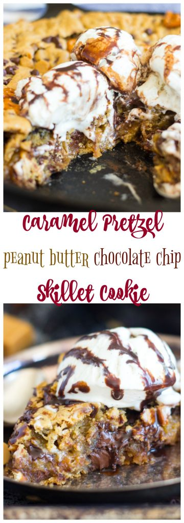Caramel Pretzel Peanut Butter Chocolate Chip Skillet Cookie pin 2