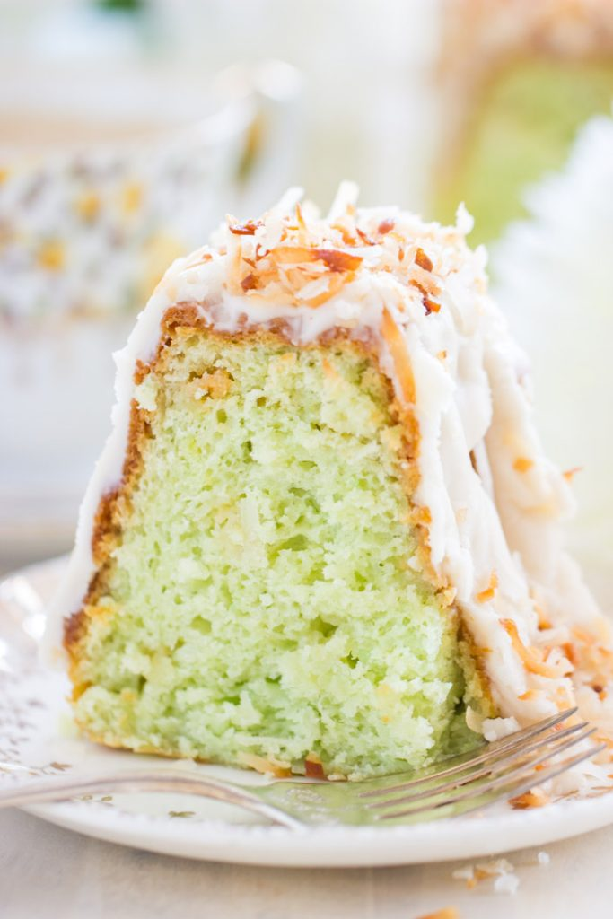 Coconut Pistachio Bundt Cake recipe image thegoldlininggirl.com 11