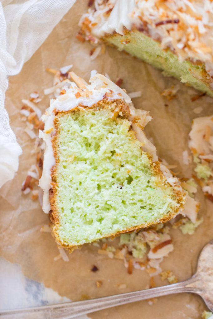 Coconut Pistachio Bundt Cake recipe image thegoldlininggirl.com 12