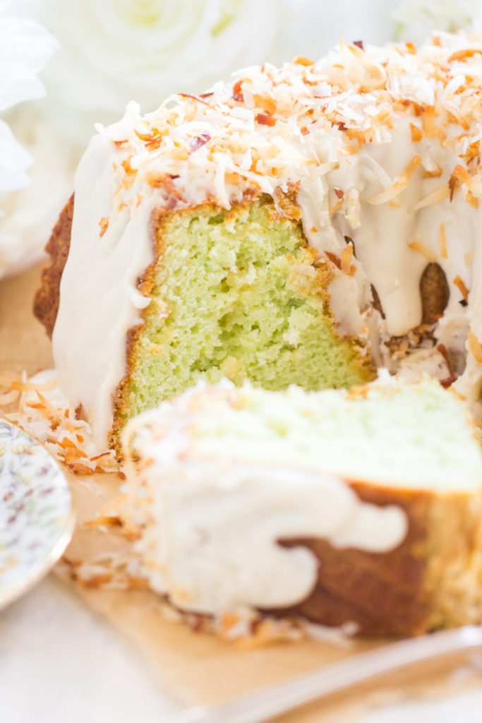 Coconut Pistachio Bundt Cake recipe image thegoldlininggirl.com 8