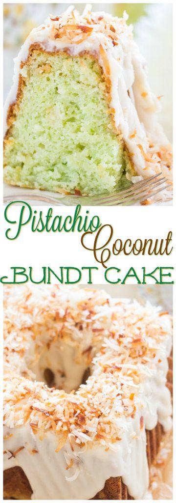 Coconut Pistachio Bundt Cake recipe image thegoldlininggirl.com pin 1