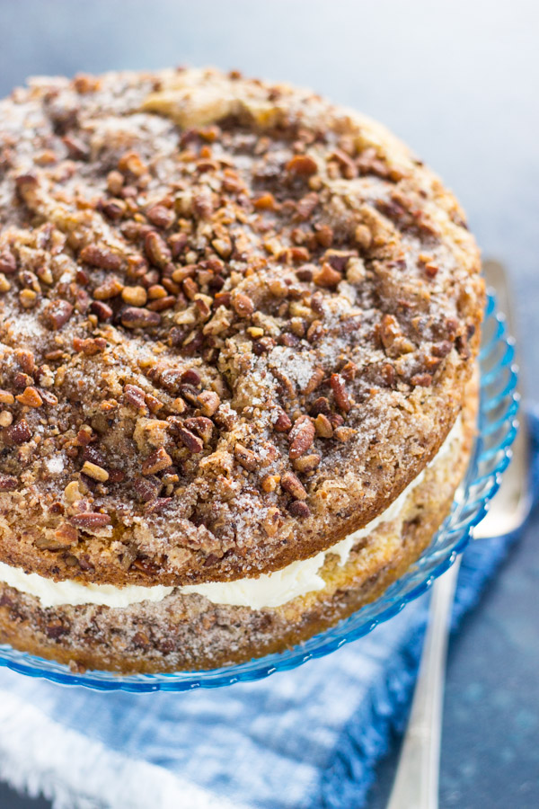 Layered Cinnamon Streusel Coffee Cake recipe image thegoldlininggirl.com 1