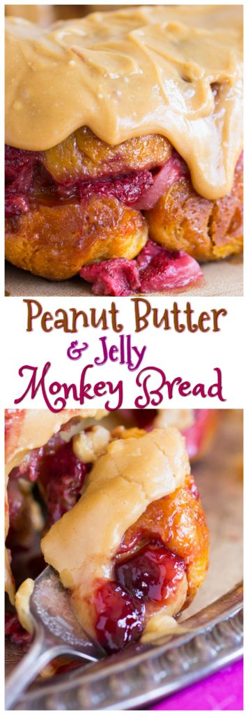 Peanut Butter & Jelly Monkey Bread recipe image thegoldlininggirl pin 1